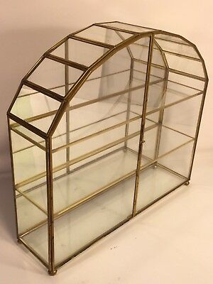 Brass Glass Mirror Display Arch Design Vintage Curio Cabinet Knick Knacks Shelf