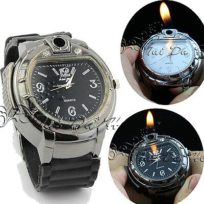 Novelty Men's Butane  Cigarette Watch Cigar Lighter Refillable WristWatch