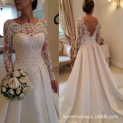 2019 Women Lace White Wedding Dresses Long Sleeves Custom-made Size Bridal Gown