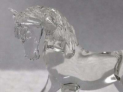 Clear Miniature Blown Glass Horse Figure Collectible