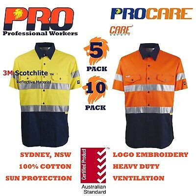 5 or 10 x Hi Vis Work Shirt vented cotton drill short sleeve CR3M Tape SAFETY