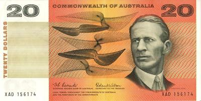 1 Australia R401 1966 Coombs Wilson $20 Dollar Note Notes Australian serial XAD