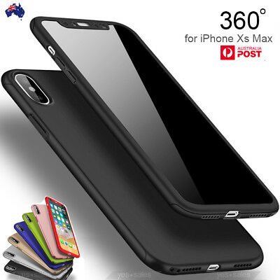 iPhone Xs Max XR Case Ultra Thin Tempered Glass 360 Full Cover Shockproof Cover
