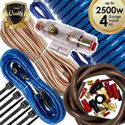 Audiotek 4 Gauge Amp Kit Amplifier Install Wiring Complete 4 Ga Wire 2500W Blue