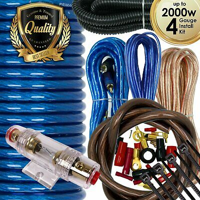 2000W SX 4 Gauge Amp Kit Amplifier Install Wiring Complete 4 Ga Car Wires Blue