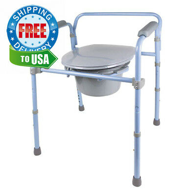 Carex Folding Commode, Portable Toilet For Adults and Bedside Commode Chair,...