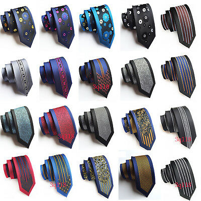 318451a5a52a Mens Stylish Floral Jacquard Skinny Silk Tie Wedding Party Formal Necktie