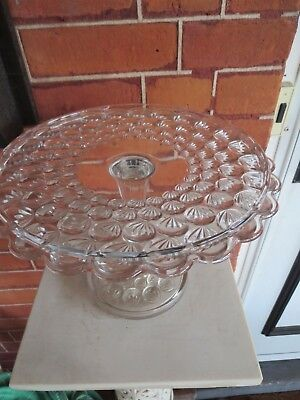EAPG Early American Pressed Pattern Glass Yale Pedestal Cake Plate Turkey Track