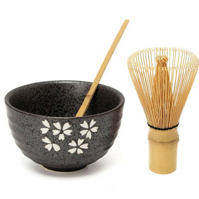 Retro 3in1 Bamboo Matcha Whisk Chashaku Scoop Matcha Ceramic Tea Bowl Chasen Set