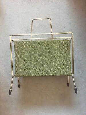 1950's Vintage Retro Steel Newspaper Record Rack Stand Gold Tone Modernist