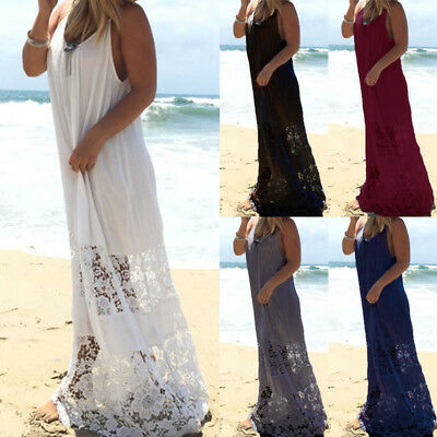 Women Summer Strappy Lace Sundress Holiday Party Beach Cover Up Maxi Cami Dress