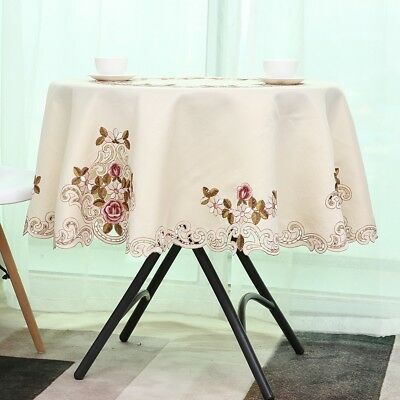 Square / Round Flower Embroidered Table Cover Cloth Wipe Party Decor Tablecloth