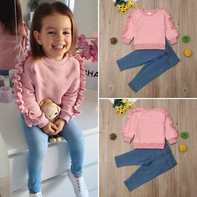 Toddler Kids Baby Girl Clothes Ruffle Tops Denim Jeans Long Pants 2Pcs Outfits