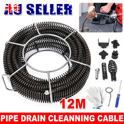 Plumber Drain Snake Pipe Pipeline Sewer Cleaner 12M w 6 Drill Bit for Drill Set