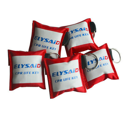 First aid resuscitation CPR Life Key face mask shield Mouth to Mouth + Gloves