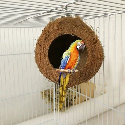 AU Pet Natural Coconut Shell Bird Nest Hut Cage Feeder Parrot Parakeet Toy House