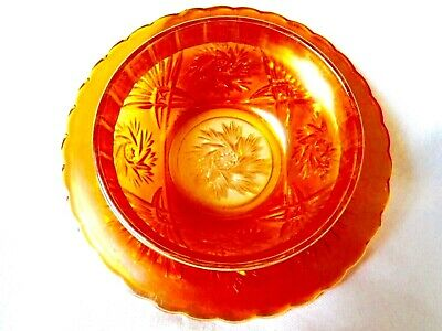 Vintage C. 1930'S Unusual Shape Marigold Carnival Glass Bowl