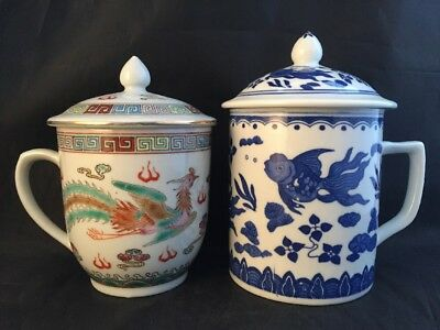 2 Chinese Lidded Cups Dragon And Fish Design
