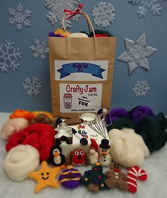 Needle Felting Make your own Christmas Decorations Kit, Wool Tools Instructions