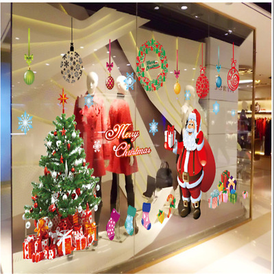 Christmas Santa Claus Tree Glass Wall Sticker Decals Art Xmas Removable 60*90cm