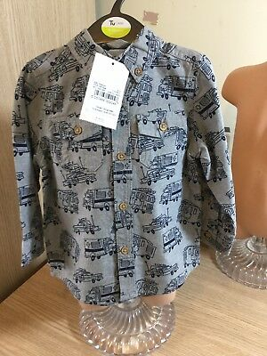 Bnwt Baby Boys 9-12M Blue Grey To The Rescue Long Sleeved Shirt Button