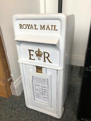 Royal Mail Post Box white British Post Box Machan Scotland Chubb Lock
