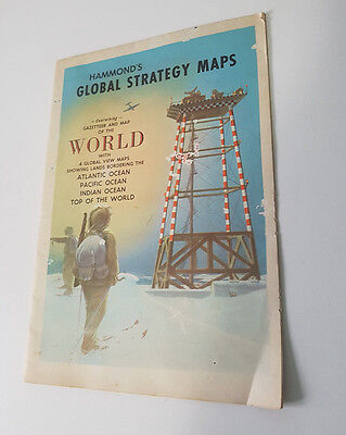 Hammond's Global Strategy Maps Old Map Airline Distances Between Cities!