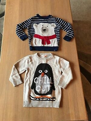 Two Boys Stripe Polar Bear Penguin Chiratmas Jumpers Joules Bluezoo 18-24 Months