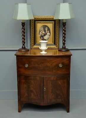 Regency Mahogany Bow-Front Commode Side Cabinet
