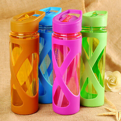 With Straw Drinks Sport Plastic Circle Water Bottle Cycling Hiking Camping New