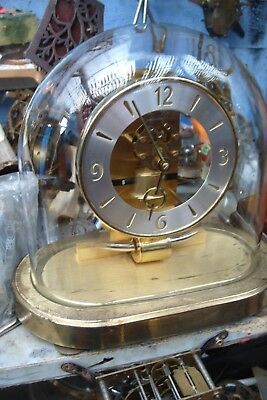 VINTAGE KIENINGER & OBERGFELL GLASS DOMED SKELETON CLOCK - see video