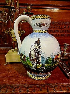 Late 19th Century Gien French Faience Hand Painted Large Jug Pitcher 9 inches