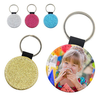 Personalised Glitter Back Keyring With Any Picture - Round Keychain