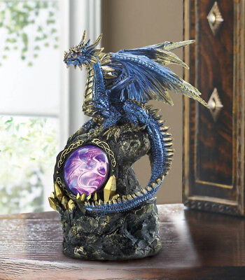 FIERCE BLUE DRAGON on Rocks Statue with Lighted Medallion