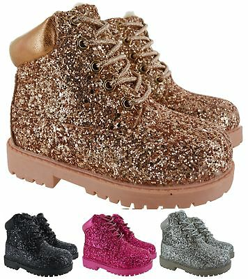 Kids Girls Childrens Fur Lined Winter Warm Grip Sole Glittery Ankle Boots Shoes