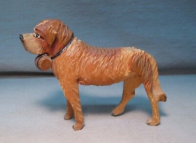 Vintage Black Forest Germany Carved Wood Saint Bernard Dog Figurine w/ Barrel