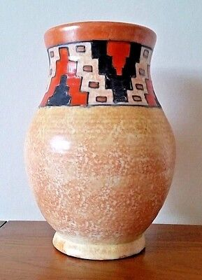 Art Deco Charlotte Rhead Crown Ducal Tube-lined Vase, Rare Aztec Pattern , c1934