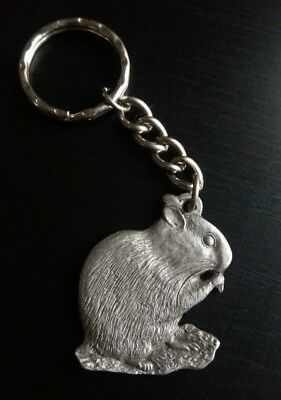 RARE 1983 Rawcliffe Pewter I Love My Hamster Key Ring Chain Keychain P Davis USA