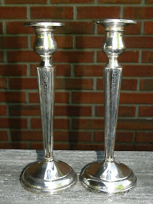 """1930s Pair 8"""" Weighted Sterling Silver Candlesticks-William Elfers-NY-Art Deco"""