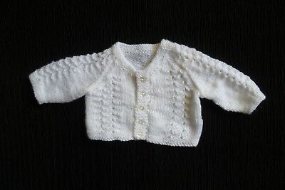 Baby clothes UNISEX GIRL BOY 0-3m white soft hand-knit pattern cardigan C SHOP!