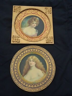 """Pr 9 1/2"""" Dresden Art plates Tin Litho Portrait by Meek with one frame"""