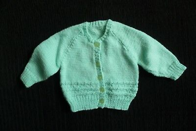 Baby clothes UNISEX BOY GIRL 0-3m turquoise soft hand-knitted pattern cardigan