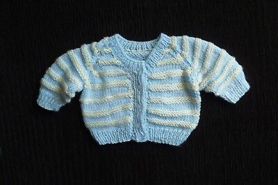 Baby clothes BOY 3-6m blue/cream striped super soft hand-knit pattern cardigan