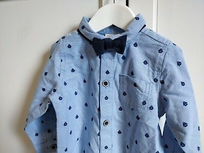 BNWT Next Shirtbody Shirt and Bowtie 9-12m Blue with Boat Print Baby Boys