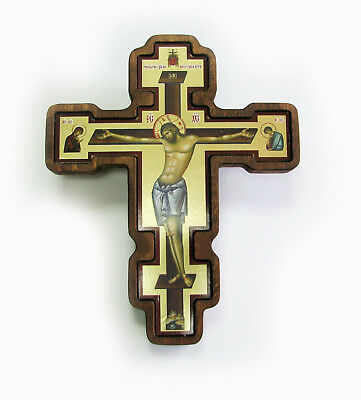 Greek Russian Orthodox Handmade Wooden Wall Cross Lithography Icon Crucifix #29