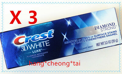 3 X Crest 3D White Luxe Diamond Strong Toothpaste Brilliant Mint 3.5 oz (99g)