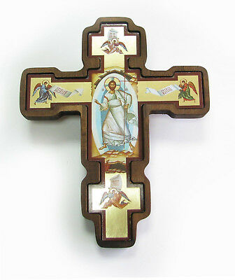 Greek Russian Orthodox Handmade Wooden Wall Cross Lithography Icon Crucifix #30