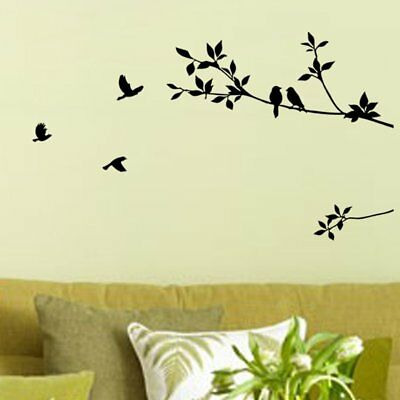 Bird Black Tree Wall Sticker Bedroom Wall Removable Decal Home Pvc Art Diy hpy