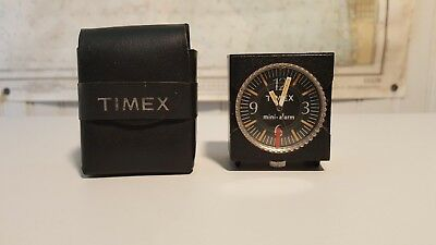 Vintage TIMEX Miniature Alarm. Wind up with electronic alarm. Travel  Case