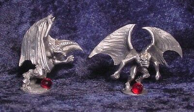 TWO Pewter GARGOYLES with RED Crystals